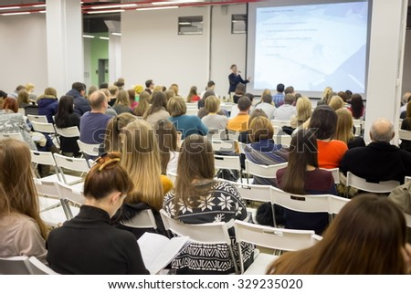 RUSSIA, MOSCOW -?? 07 DEC, 2014: Conference during Open Doors Day in British high school of design. - stock photo