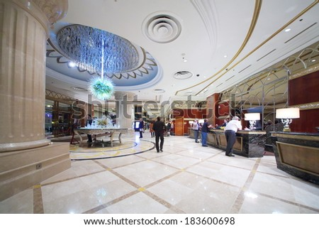 RUSSIA, MOSCOW - DEC 11, 2013: Reception with a futuristic chandelier in Lotte Plaza Hotel. - stock photo