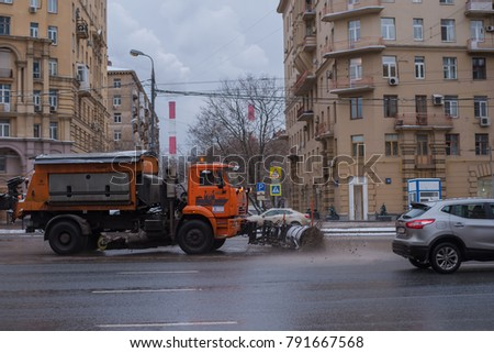 Russia, Moscow, January 5, 2018 - Truck exports to remove the snow from