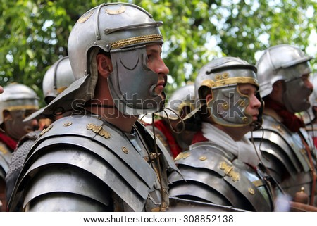 "RUSSIA, MOSCOW - 6 JUN, 2015: Roman legionaries at International historic festival ""Times and Epochs"" which dedicated to Antiquity period in museum-reserve Kolomenskoye"
