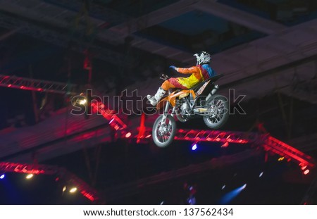 RUSSIA, MOSCOW-MARCH 2: Gabriel Viilegas doing tricks on his ATV  at the VI festival of extreme sports in the Olympic Sports Complex Moscow, Russia, on March 2, 2013