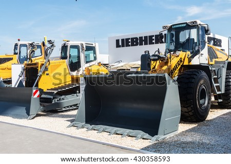 RUSSIA, MOSCOW - May 31, 2016: exhibits and construction equipment International Specialized Exhibition of Construction Equipment and Technologies at Crocus Expo