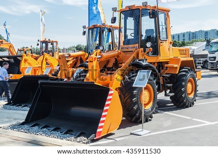 RUSSIA, MOSCOW - May 31, 2016: exhibits and construction equipment naInternational Specialized Exhibition of Construction Equipment and Technologies at Crocus Expo - stock photo