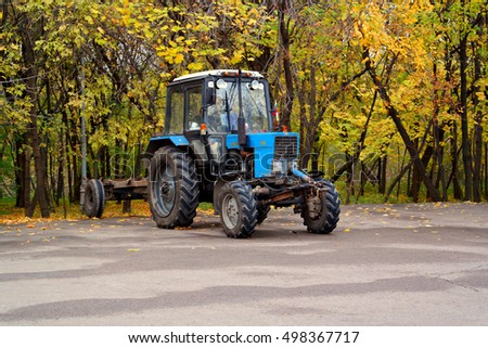 Russia, Moscow, October 2016 Tractor in the Parking lot