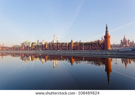 Russia, Moscow, type to the Moscow Kremlin and the river - stock photo
