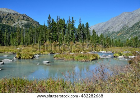 Russia, mountain Altai, river Multa  in the area between the upper and middle Multinskoye lakes