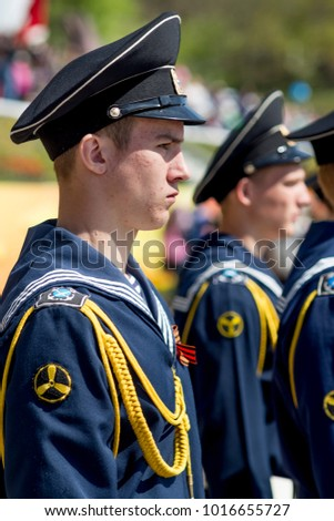 Russia, Nakhodka, 05/09/2017. Portrait of courageous military sailor in parade uniform on parade on annual Victory Day on May 9. Victory of USSR over Nazi Germany in Great Patriotic War