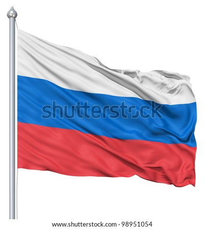 Russia national flag waving in the wind - stock photo