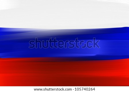 Russia national hand painted flag - stock photo