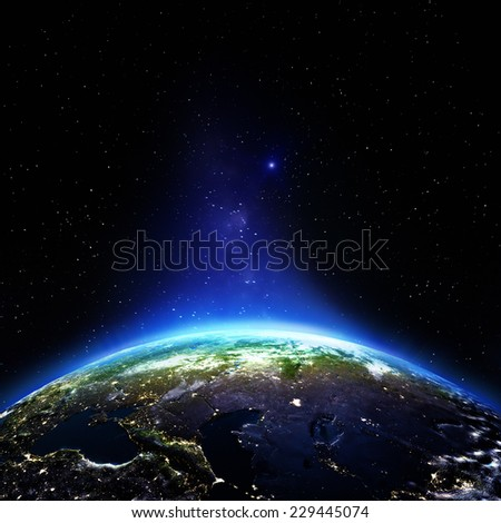 Russia night. Elements of this image furnished by NASA - stock photo