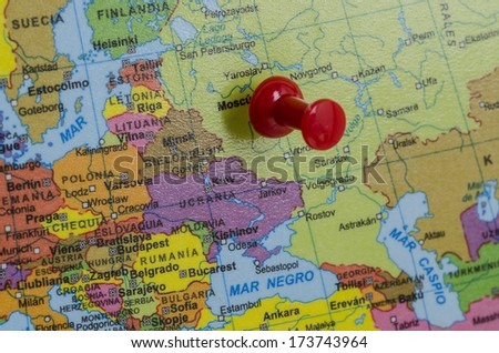 Russia on map - stock photo