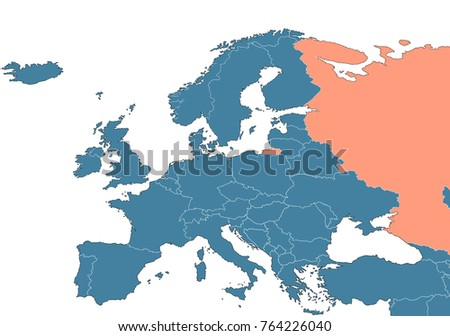 Russia on the map of Europe