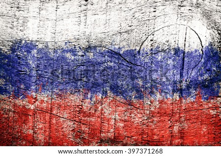 Russia, Russian federation flag on old wood plank, texture background.