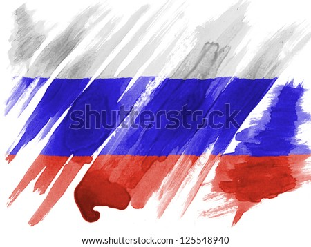 Russia. Russian flag  painted with watercolor on paper - stock photo