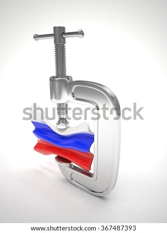 Russia's flag in clamp, crisis, sanction concept