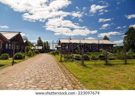 Russia's Rural Past in this Village with Wooden Architecture. Russia, Leningrad Region, Podporozhsky. - stock photo