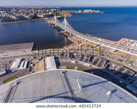 Russia, Saint-Petersburg, 23 July 2017: Aerial view of landscape of the third cable-stayed bridge, cable road, near the Zenit Arena stadium, FIFA World Cup in 2018, river Neva