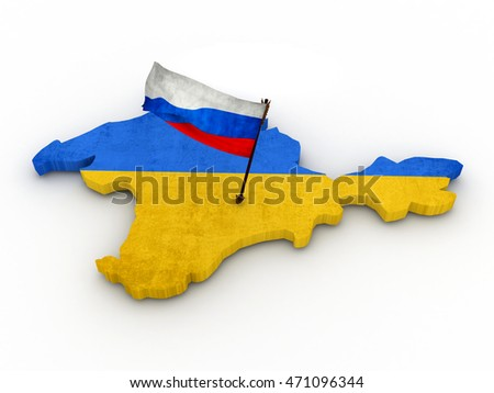 Russia seized Crimea. Arrow with russian flag on a Crimea territory. High quality 3d render.
