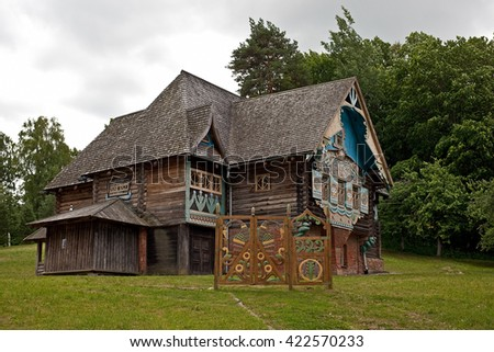 "Russia, Smolensk region - 7 July 2015: Historical and architectural complex ""Teremok"" in village Talashkino (Flenovo)."