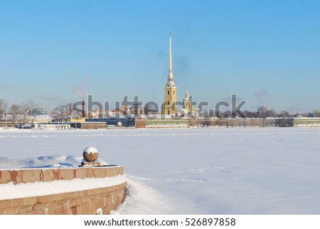 Russia. Snowy St. Petersburg in a sunny winter day