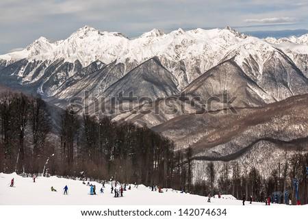 "Russia, Sochi, resort  ""Krasnaya Polyana"" (Red Meadow). - stock photo"
