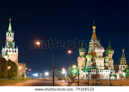 Russia St Basil's Cathedral in Red Square - stock photo