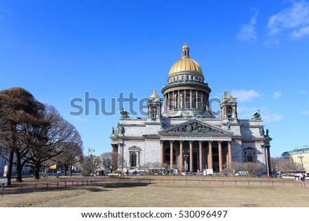 RUSSIA, ST. PETERSBURG - MARCH, 2015: Movement of clouds over St. Isaac's Cathedral in St. Petersburg on march 2015, Russia