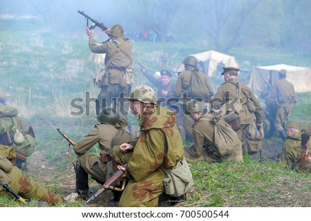 Russia, St. Petersburg, 13,05,2012 Reconstruction of the battles of the Second World War
