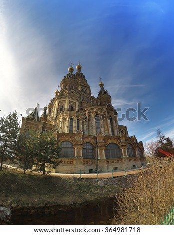Russia, suburb of Saint Petersburg, the St. Peter and Paul Church.  