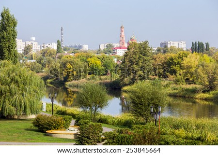Russia.Tambov city and Tsna River. Sunny day - stock photo
