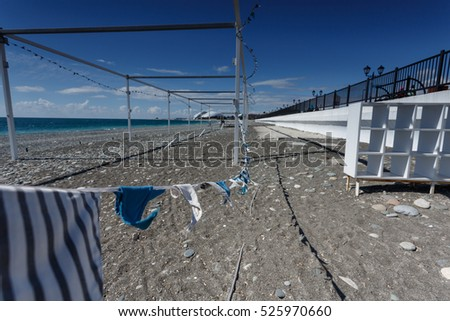 Russia. The gazebo on the waterfront, day, blue sky, sea. Pavilion