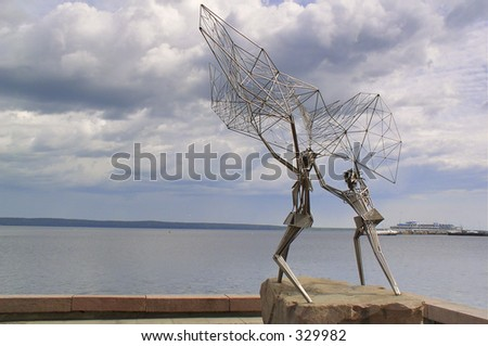 Russia. The Monument fisherman in Archangelsk. - stock photo