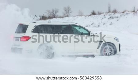 Gentil Russia, Togliatti   DECEMBER 22, 2016: Snow Test Drive Of Mercedes GL And