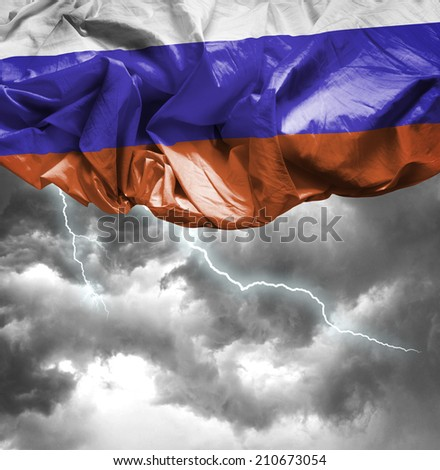 Russia waving flag on a bad day - stock photo