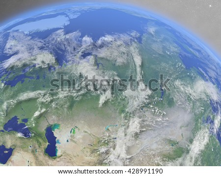 Russia with surrounding region as seen from Earth's orbit in space. 3D illustration with highly detailed planet surface and clouds in the atmosphere. Elements of this image furnished by NASA.