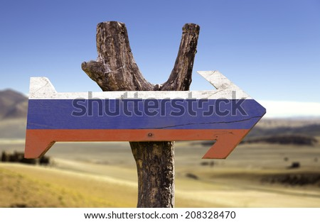 Russia wooden sign isolated on desert background - stock photo