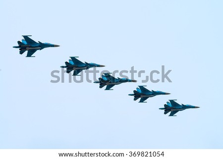 Russian air force during the parade commemorated to 70-th anniversary of victory in World War II - stock photo
