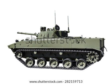 Russian airborne fighting vehicle is isolated on a white background