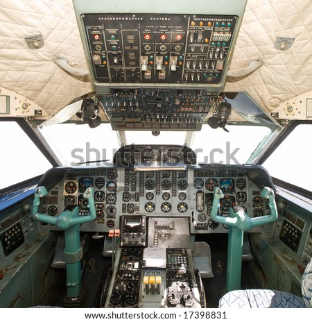 russian airplane cockpit. equipment and controls closeup