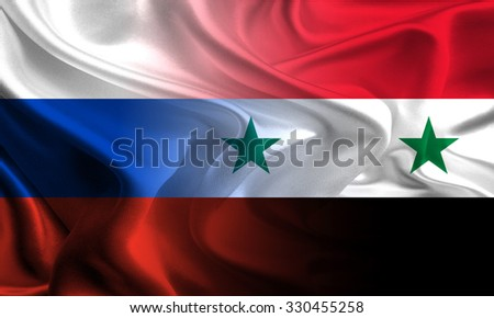 Russian and Syrian flags waving together - stock photo