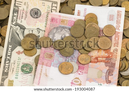 Russian and Ukrainian paper money and coins.