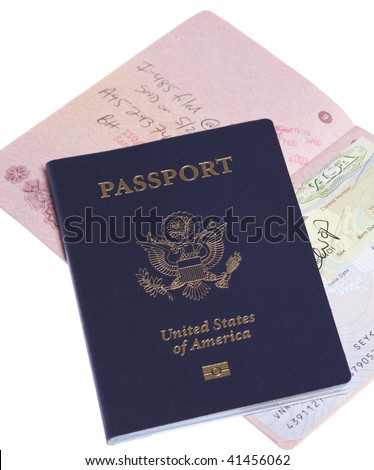 Russian and US passports on white isolated background - stock photo