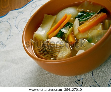 Russian  cabbage soup Don stchi with sturgeon - stock photo