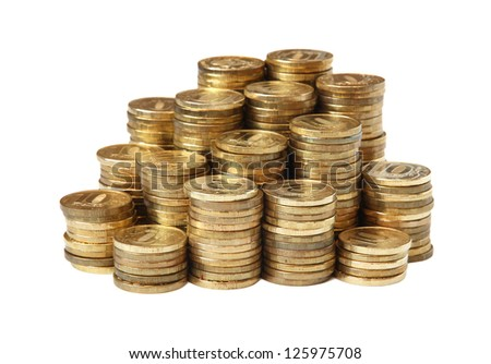 Russian coin roubles on a white background. - stock photo