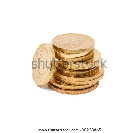 Russian coins arranged in stack