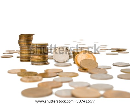 Russian coins of different dignity on a white background, isolated