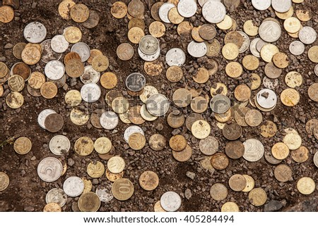 russian coins on the ground