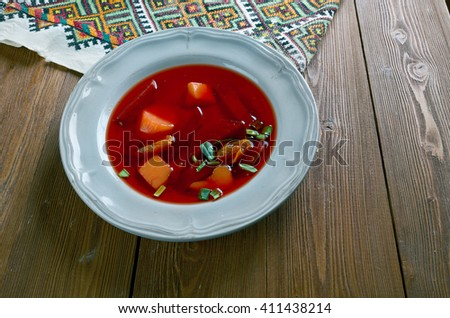 Russian Cold beet soup  chlodnik with potatoes, and dried apricots. Good for the heart - stock photo