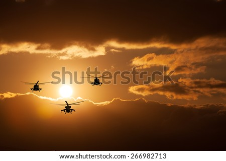 Russian Combat helicopters, Mi-24, Mi-8, warm sunset
