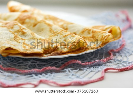 Russian crepes.  Selective focus - stock photo